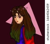 anime girl digital illustration ... | Shutterstock . vector #1664062459