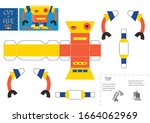 cut and glue robot toy vector...   Shutterstock .eps vector #1664062969
