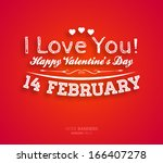 happy valentines day card... | Shutterstock .eps vector #166407278