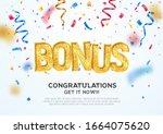 golden bonus word on falling...   Shutterstock .eps vector #1664075620
