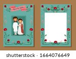 save the date.cute indian bride ...   Shutterstock .eps vector #1664076649