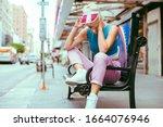 beautiful fashionable young...   Shutterstock . vector #1664076946