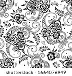 seamless black and white swirly ... | Shutterstock .eps vector #1664076949