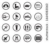 military base icons. black flat ... | Shutterstock .eps vector #1664083060