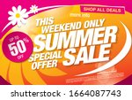 summer sale banner layout... | Shutterstock .eps vector #1664087743