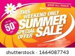 summer sale banner layout... | Shutterstock .eps vector #1664087743