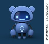 Little Cute Blue Robot With...