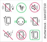 no loud music or talk sign   ... | Shutterstock .eps vector #1664107210