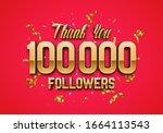 100000 followers. poster for... | Shutterstock .eps vector #1664113543