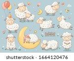 Cute Sheep Set.  Vector...