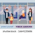 passengers in a public metro... | Shutterstock .eps vector #1664120686