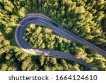 Aerial View Of Winding Road In...