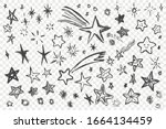various hand drawn stars set....   Shutterstock .eps vector #1664134459