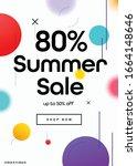 80  off summer season sale... | Shutterstock .eps vector #1664148646