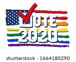 check mark vote 2020. pride...   Shutterstock .eps vector #1664180290