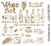 set of wine elements for design ... | Shutterstock .eps vector #166418594
