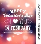 happy valentines day card... | Shutterstock .eps vector #166418690
