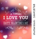 happy valentines day card... | Shutterstock .eps vector #166418768