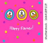 cute happy easter card on...   Shutterstock .eps vector #1664189119