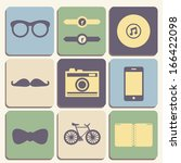 flat hipster icons set of...