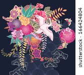 decorative kimono floral motif... | Shutterstock .eps vector #166424804
