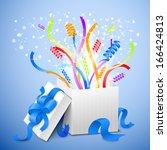birthday gift package vector... | Shutterstock .eps vector #166424813