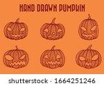 Creepy Grinning Pumpkin Vector...