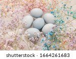 Hand Painted Easter Eggs On A...