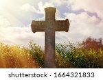 Grey Grave Stone Cross Standin...