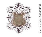 ornate shield label design...   Shutterstock .eps vector #166433354