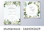 set of cards with floral... | Shutterstock .eps vector #1664342629