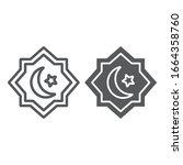 rub el hizb line and glyph icon ... | Shutterstock .eps vector #1664358760
