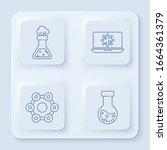 set line test tube and flask... | Shutterstock .eps vector #1664361379
