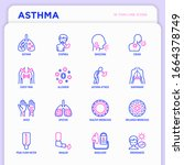 asthma thin line icons set ... | Shutterstock .eps vector #1664378749