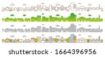 flat line city street landscape ... | Shutterstock .eps vector #1664396956