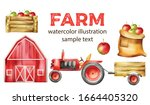 Watercolor Farm Vehicles And...