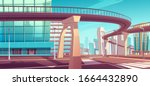Cityscape with overpass highway or subway above crossroad and town street. Vector cartoon landscape of modern city with skyscrapers, crosswalk and road on bridge