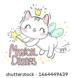 cute cat with wings and wand... | Shutterstock . vector #1664449639