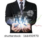 businessman with financial... | Shutterstock . vector #166450970