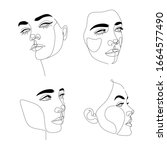 abstact line art vector face.... | Shutterstock .eps vector #1664577490