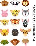 wild animal head cartoon... | Shutterstock . vector #166460066