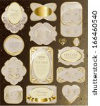 retro vintage set of white gold ... | Shutterstock .eps vector #166460540