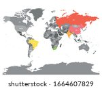 world map with highlighted... | Shutterstock .eps vector #1664607829