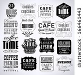 retro coffee  labels and... | Shutterstock .eps vector #166461443