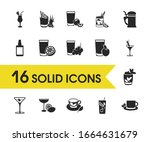 cocktails icons set with tomato ...