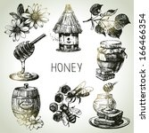 Honey Set. Hand Drawn Vintage...