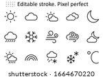 set of weather vector line... | Shutterstock .eps vector #1664670220
