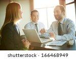 portrait of smart business... | Shutterstock . vector #166468949