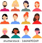 people avatars collection in... | Shutterstock .eps vector #1664690269