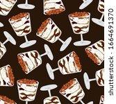 seamless pattern with tiramisu... | Shutterstock .eps vector #1664691370